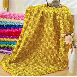 Wholesale 3D Rose Flower Carpet Wedding Decoration Fabric meters Stocked On Sale Colors Available Wedding Background Blanket Hot