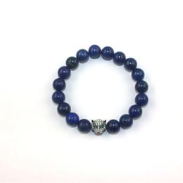 Wholesale Lapis Lazuli Beaded Bracelets Crystal Tiger Charm Zinc Alloy Handmade Wrist Ornament Blue Beads Bracelets Jewelry TR004
