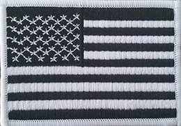 Wholesale BLACK WHITE AMERICAN FLAG IRON ON PATCH USA US UNITED STATES UNIFORM MILSPEC DARK OPS SWAT