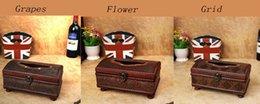 Wholesale Retro Classic Antique Wooden Encrusted Car Leather Removable Tissue Paper Box Holder Vintage Home HW892