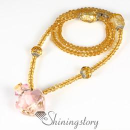 heart glitter essential oil jewelry murano glass perfume bottle pendant diffuser essential oil diffuser necklaces wholesale