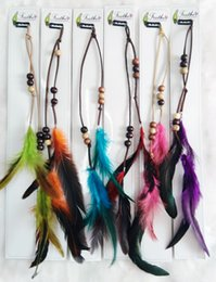 Wholesale Beads leather fashion natural feather hair clip Hair extension headdress wedding headwear hair accessories feathers