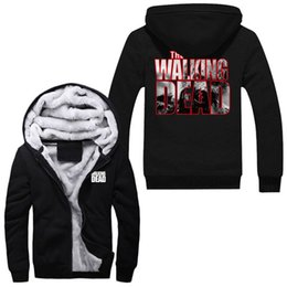 The Walking Dead Super Warm Thicken Fleece Zip Up Hoodie Men's Coat Sweatshirts Free Shipping