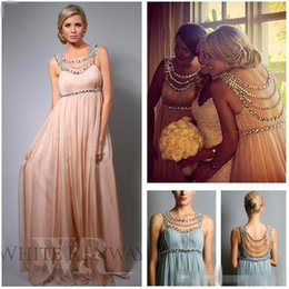 Wholesale 2016 Hot Sale Sheer Cheap Prom Dresses Beds Collar Chiffon Pleats A Line Floor Length Evening Party Wear For Pregnant Custom Made
