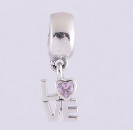 FANCY PINK PINK LOVE DANGLE CHARM DIY Beads Real Solid 925 Sterling Silver Not Plated Fits Pandora Bracelet&Charms