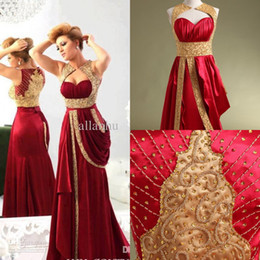 Real Image Gold Applique Dubai Arabic Evening Dresses Burgundy Satin Formal Evening Gowns Plus Size African Kftan Pageant Prom Dresses Long
