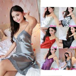 Wholesale New Arrivals Women Lady Sleepwear Pajamas Nightgowns Nightdress Lingeries Acetate Fiber Imitated Silk Lace Sexy Colors EB2