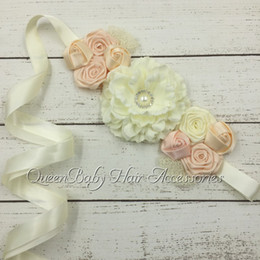 Ivory Penoy Flower Sash Macthing Colorful Satin Flower Sash Bridal Belts QueenBaby Sash Maternity Sash Luxe Sash