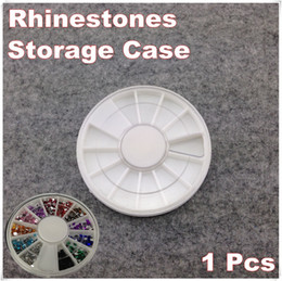 Wholesale-1 Piece White Plastic Empty Wheel Box Case For Nail Art Gems Rhinestones Storage Case + Free Shipping (NR-WS85)