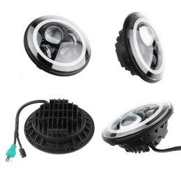 40W CREE 7 inch Round LED Headlight + Amber White Switchback LED Halo Rings For Jeep Wrangler JK TJ LJ