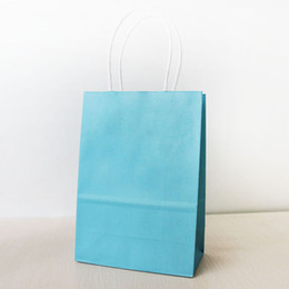 21*15*8cm Light Blue Paper Shopping Bag With Handle,130gsm Kraft Paper Bag, Can OEM Customized Printing Logo