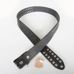 Wholesale Retail Real Leather Belt Studded Punk Rock Emo Black Solid Genuine Leather Belt Gurtel Free Ship