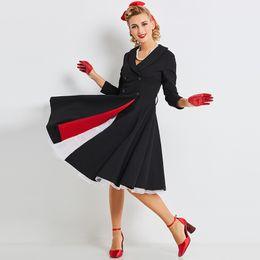 New Arrival Womens Vintage Hepbrun Lapel Button Windbreaker Long Sleeve Casual Fashion Dress DK3065MX Free Shipping Drop-Shipping