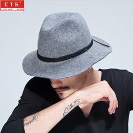 Wholesale-100% wool fedora felt Black Panama hat men vintage jazz 7cm brim classic trilby leisure stage proformance cap B-1494