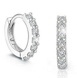New Top Grade Diamond Earrings For Women Hoop Ear Cuff Stud Jewelry 925 Sterling Silver Earrings for Ladies Wedding Party