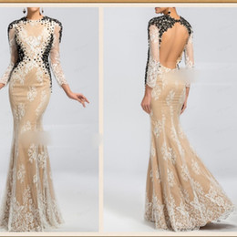Wholesale Popular Design Lace Applique Bead Crew Long Sleeve Mermaid Formal Evening Dresses cow Back Sexy Party Prom Dress Gowns Pageant Dress Cheap
