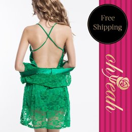 Wholesale-R7710 Super deal new arrival robe women fashion style popular lingerie dress green shining two pieces lace lingerie women