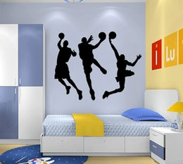 Wholesale DIY Basketball Players Boys Kids Games Black Vinyl Removable Wall Stickers Home Decals Sport for Teen Children Bedroom Living Room Decor