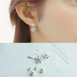 South Korean version Korean version TV star Quintana S925 Silver Micro Pave pearl flower earrings earrings