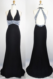 New Arrival Black Halter Silver Sequined Evening Dresses with Open Back Sweep Train Chiffon Sheath 2015 Prom Dresses
