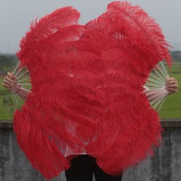 A Pair of Single Layer Red Large Ostrich Feather Fan Burlesque friend 24x45 inch
