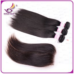 6A Peruvian Virgin Hair 4pcs Lot Silky Straight Lace Closure With Bundles Unprocessed Human Hair Weave Extension Peruvian Straight hair weft