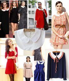 Wholesale-2015 NEW Hot Fashion Korea Women Vintage blouse shirt detachable collars girls peter pan false collar necktie