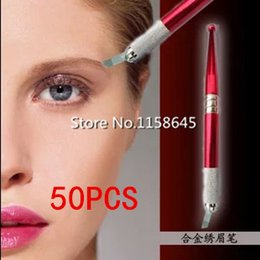 50Pcs Red Professional Permanent Manual Pen 3D Eyebrow Embroidery Tattoo Pen Top Permanent Makeup Microblading Pen DHL Free Ship