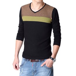 Male sweater 2014 autumn and winter casual color block decoration V-neck pullover sweater male slim sweater