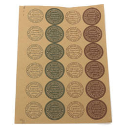 24Pcs Sheet Retro Adhesive Paper Tags Circular Labels DIY Scrapbooking Note Kraft Labels Packing Accessorie