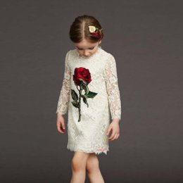New Spring Europe Fashion Girls Princess Lace Dress Hollowed Out Rose Jacquard Dress Long Sleeve Cotton Children Clothing Kids Dresses 10807