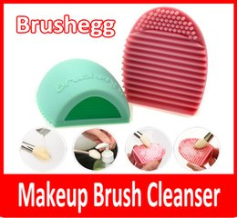 New Egg Cleaning Glove MakeUp Washing Brush Scrubber Board Cosmetic Brushegg Cosmetic Brush Egg Pink Purple Mint Green