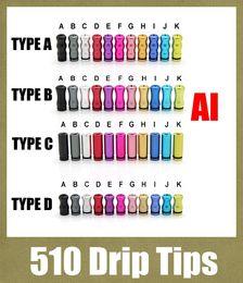Wholesale 2015 drip tip wide dhl driptips wide bore serial ecig accessories aluminum for rda rba e cigarette atomizer mini protank3 subtank FJ156
