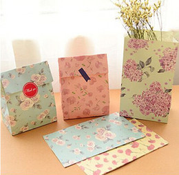 Free shipping little flower decoration gift packing bag cookie candy dessert paper bag stickers decoration party favor supplies
