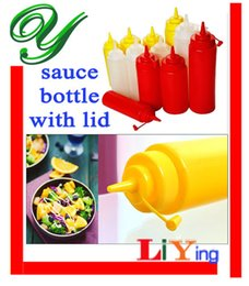 Wholesale Squeeze Bottle BBQ sauce bottles Condiment Dispenser Cruet salad Ketchup Mustard Vinegar baking tools Edible Plastic OZ ml color cover