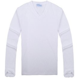 Wholesale 2015 Mens T Shirt Spring And Autumn Slim Deep V Neck Long Sleeve T Shirt Solid Color White Blank T Shirt Men Clothes