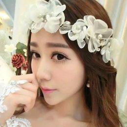 Wholesale Milk White Organza Flowers Crystals Bridal Hair Bands Princess Headdress Hair Pieces For Women Wedding Hair Accessories