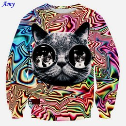 Wholesale Amy New Autumn Winter d sweatshirts women Personality Psychedelic glasses cat print fashion lady novelty animal Hoodies WY37