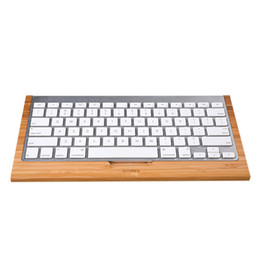 Wholesale 100 SAMDI Bamboo Bluetooth Wireless Keyboard Stand Protective Case Cover Practical Holder Bracket for Apple iMac PC Computer C2155