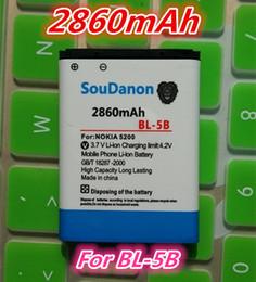 Wholesale-2860mah BL-5B   BL 5B High Capacity Battery for Nokia 3230 5070 5140 5140i 5200 5300 5500 6020 6021 6060 etc Mobile Phones
