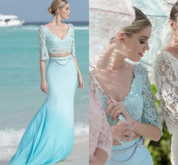 Two Pieces Tarik Ediz 2016 Evening Dresses Pearls Lace Mermaid Chiffon Evening Gowns Sexy Arabic Party Dresses