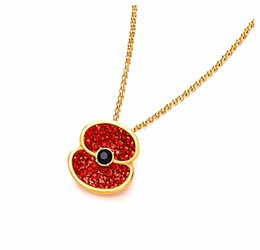 Fashion Jewelry 2015 Newest Gold Tone With Red Crystal Rhinestone Flower Poppy Necklace Pendants Jewelry Set