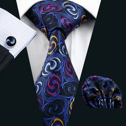 Neck Tie Set Pocket Square Cufflinks Blue Galaxy Pattern Jacquard Woven Formal Mens Silk Tie Work Meeting Leisure N-0241