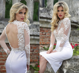 2018 Greek Short Wedding Dress Illusion Long Sleeves Open Back Knee Length Sheath White Lace Beach Wedding Gowns Bridal Dress