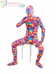 Trajes de cuerpo de spandex al por mayor en venta-Traje Calidad Fiesta de Carnaval mayor-alta de Halloween Camuflaje rojo de Lycra Spandex Zentai de una Pieza