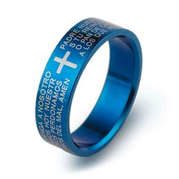 Wholesale 2015 Fashion creative men s classic Prayer Padre Nuestro bible cross ring Cross silver blue black gold Tungsten steel rings Jewelry