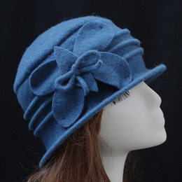 Wholesale Womens Wool Foldable Cloche Bucket Hat with Flower Accent Colors Available