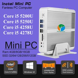 Wholesale Fanless Barebone i5 Mini PC Windows Broadwell Intel Core i5 U i5 U i5 U K HTPC Optical Nics HDMI M Wifi
