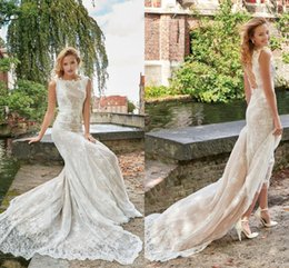 Wholesale Alluring Wedding Dresses Bateau Sexy Back Lace Applqiue Chapel Train Plus Size Bridal Wedding Gowns BA0852