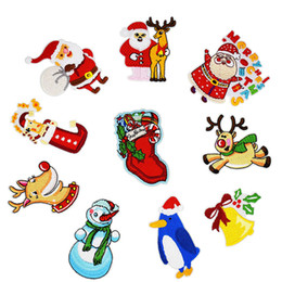 Ten Styles Christmas Patches for Clothing Iron on Transfer Applique Patch  for Coats Sweater DIY Sew on Embroidery Sticker 10PCS 7b2f9e103a8a